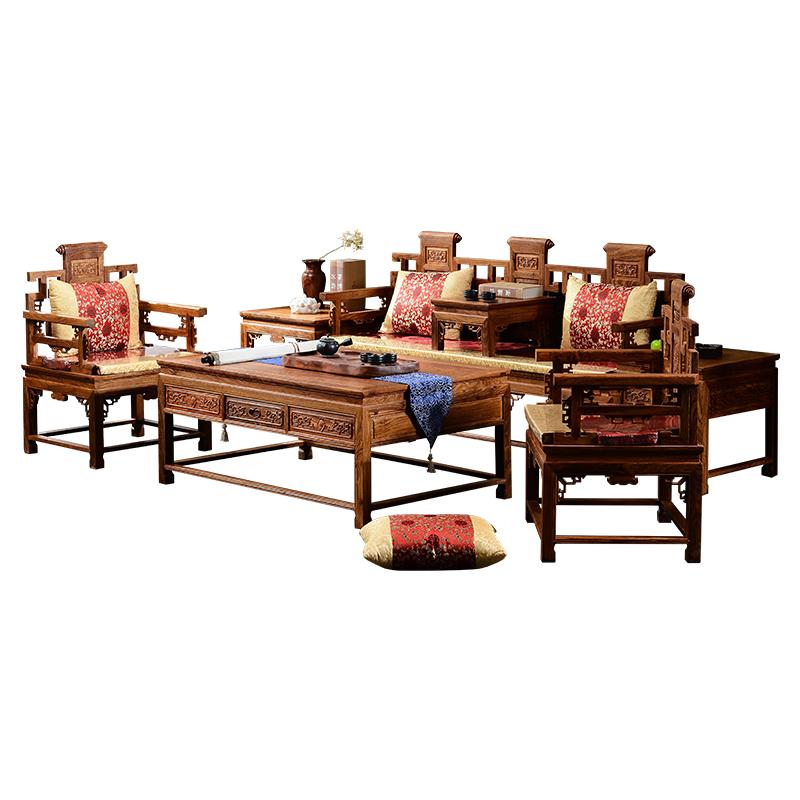 古味居 刺猬紫檀客厅红木沙发组合 实木仿古家具/勾仔沙发 HS39