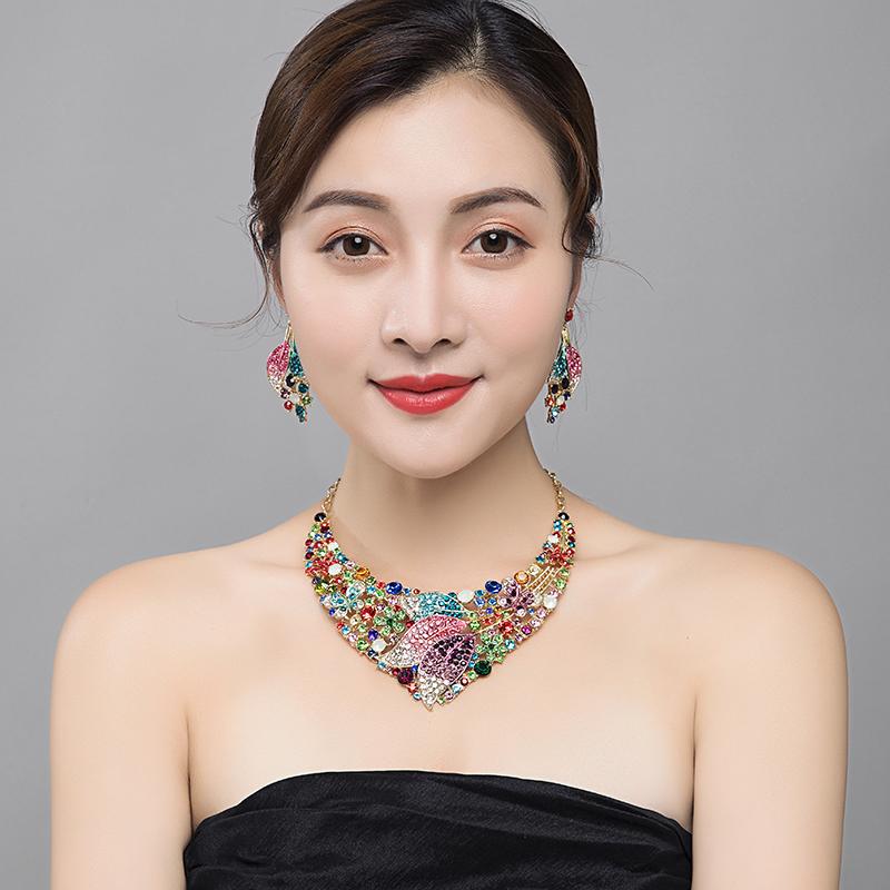 欧美奢华水钻宝石短锁骨项链耳环套装夸张高端礼服晚宴女时尚配饰