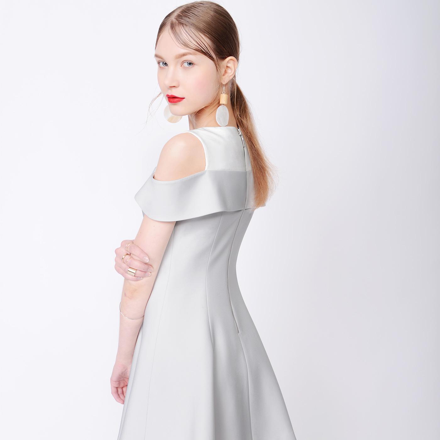 糖力夏装新款欧美女装拼色露肩连衣裙小礼服无袖A字裙显瘦裙子
