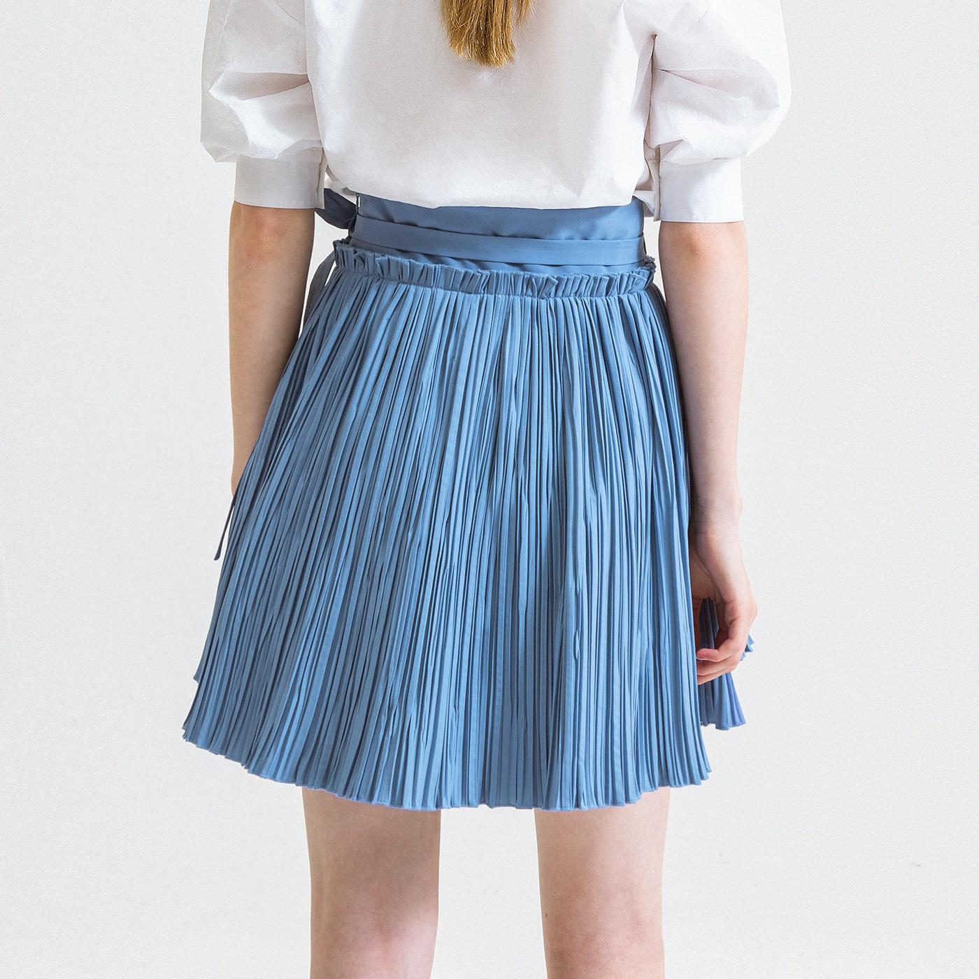 糖力 夏装欧美女装中腰蓝色A字半身裙系带百褶裙显瘦短裙