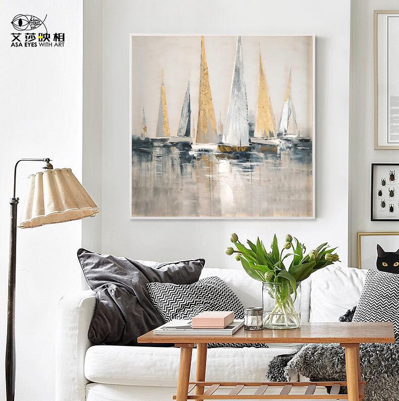 艾莎手绘油画当代简约轻奢客厅抽象装饰画玄关画餐厅走廊挂画定制