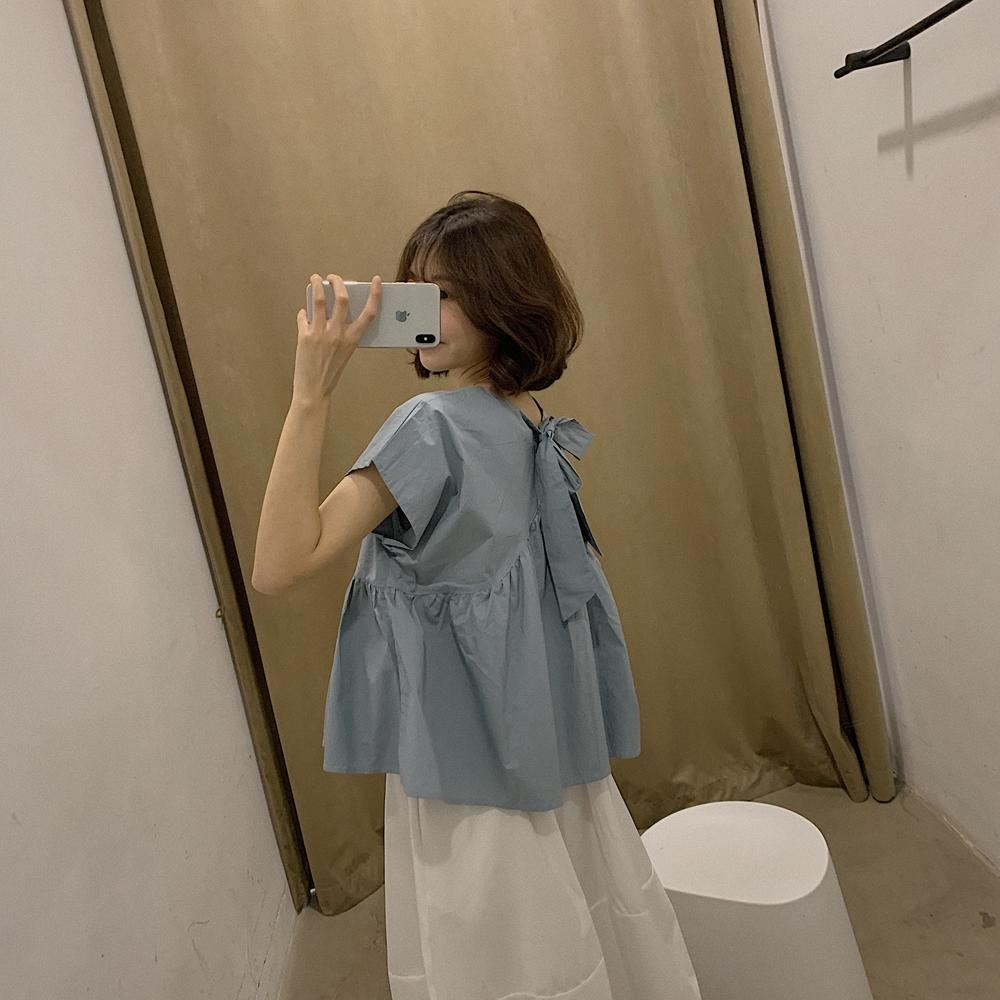 法式复古chic气质小众背后系带甜美蝴蝶结显瘦娃娃衫上衣短袖女