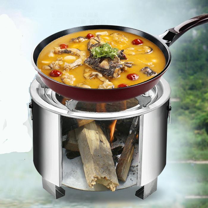 不鏽鋼戶外野炊燒飯火鍋爐具旅行野營用品便攜木柴火爐子野餐露營