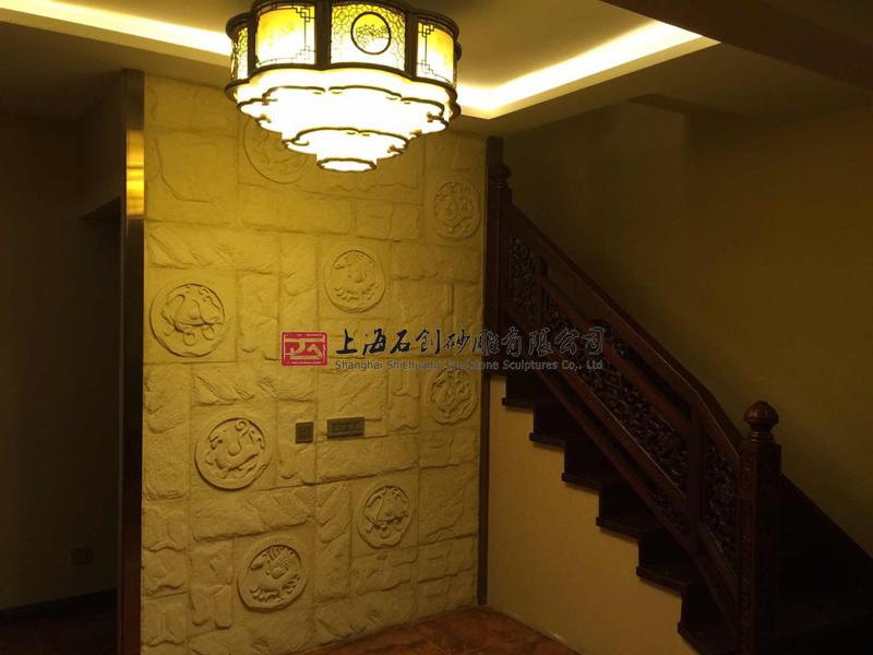 上海石创砂岩玄关电视背景墙人造砂岩浮雕3d立体石雕壁画四神兽板