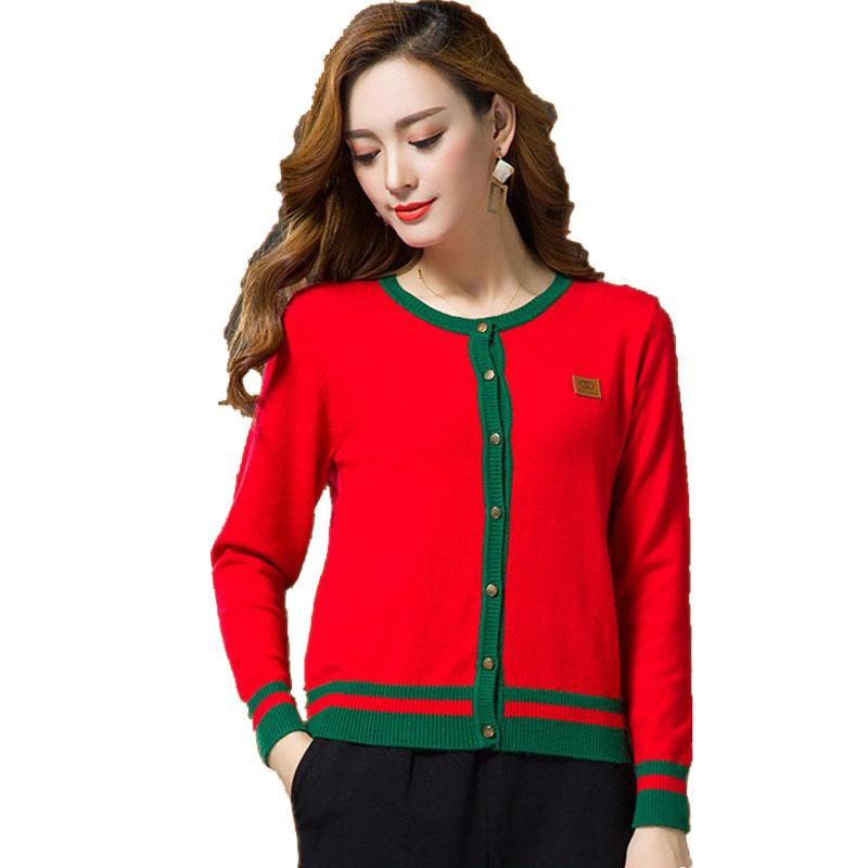 纯山羊绒衫女开衫2021春秋短款高档品牌大码外套搭羊毛衫毛衣外套主图