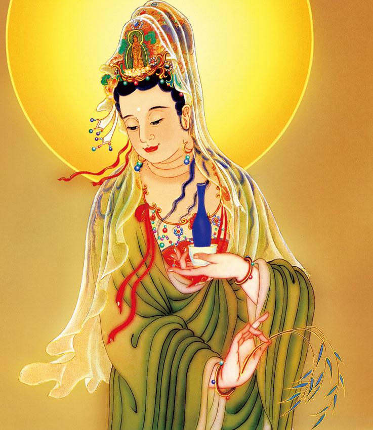 西方三圣畫像阿彌陀佛卷軸畫佛堂掛畫觀音菩薩像佛教結緣畫佛像