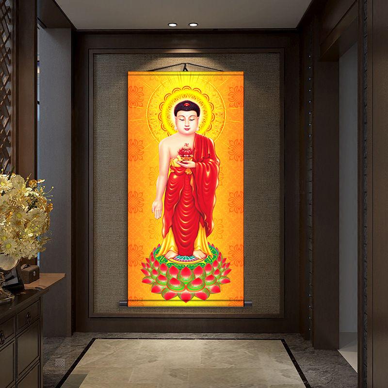 南無阿彌陀佛像掛畫阿彌陀佛禪意西方三圣佛菩薩畫像字畫居家國畫