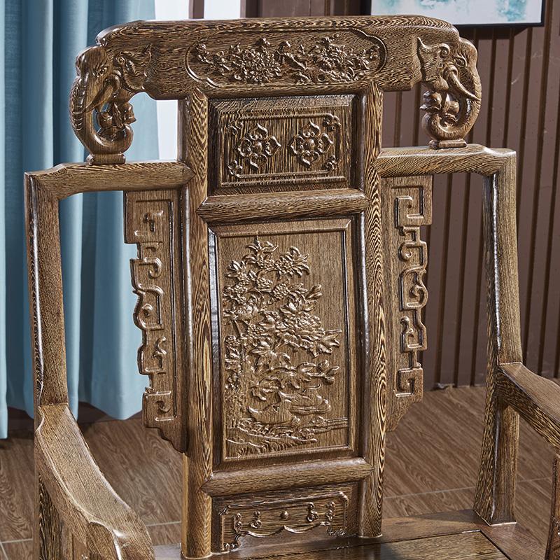 红木椅子鸡翅木圈椅太师椅三件套茶椅实木仿古中式休闲靠背皇宫椅