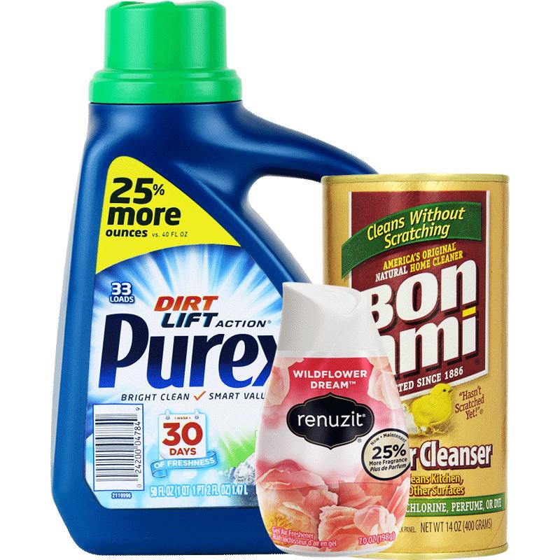 美国进口高浓缩洗衣液厨卫去污粉蕊风除臭清新剂优惠3件套组
