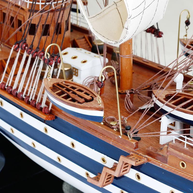 木质仿真帆船模型摆件 韦斯普奇号90cm 大号实木船工艺船礼物