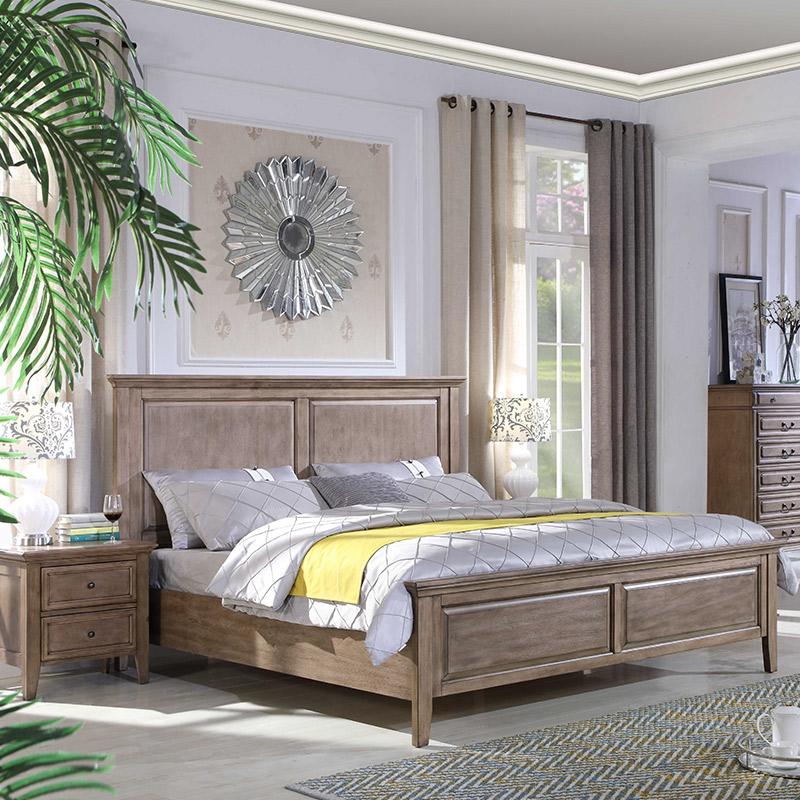 优梵艺术Rhine美式轻奢全实木床双人主卧室高箱储物1.8米现代简约