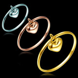 18K rose gold ring gold ring platinum gold color gold ring female peach heart tail ring support lettering