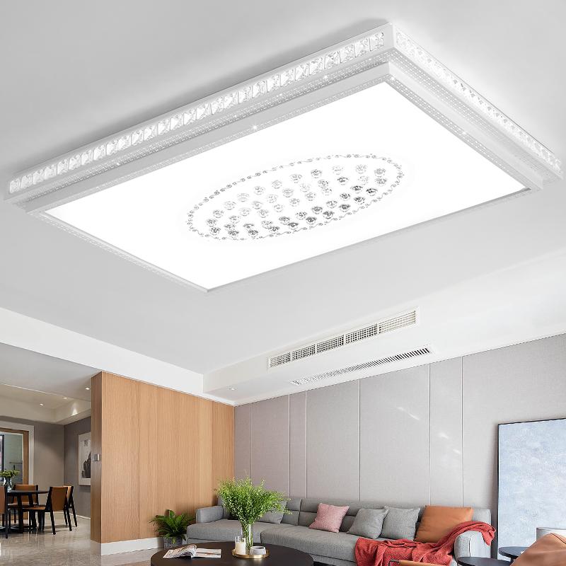 吸顶灯大气创意圆形卧室灯长方形房间灯具 led 客厅灯简约现代水晶