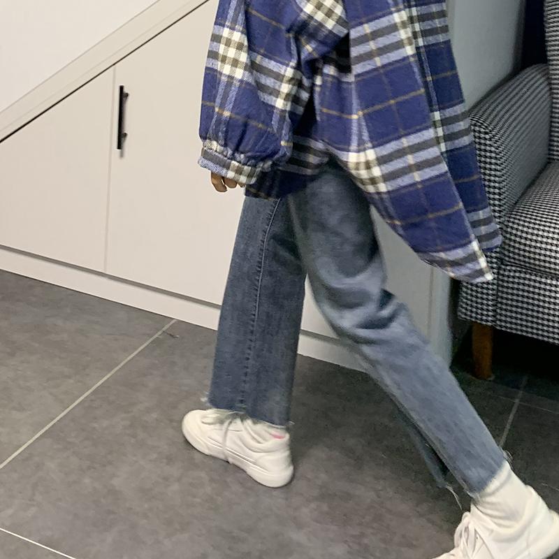 赛小懒韩版黑色高腰开叉毛边直筒牛仔裤女春装2020新款显瘦裤子潮