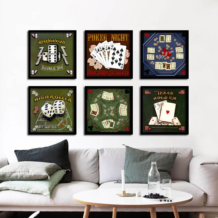 塞子台球装饰画酒吧棋牌室KTV有框麻将馆墙画俱乐部壁画红酒挂画