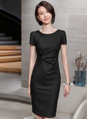 高端连衣裙夏季2021新春职业装气质女神范短袖西装套装名媛小裙子