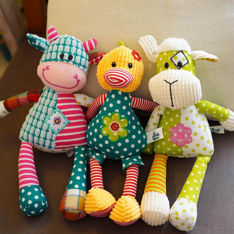 婴儿毛绒玩具安抚睡觉抱可爱小牛羊鸡幼儿宝宝女孩玩偶布娃娃公仔