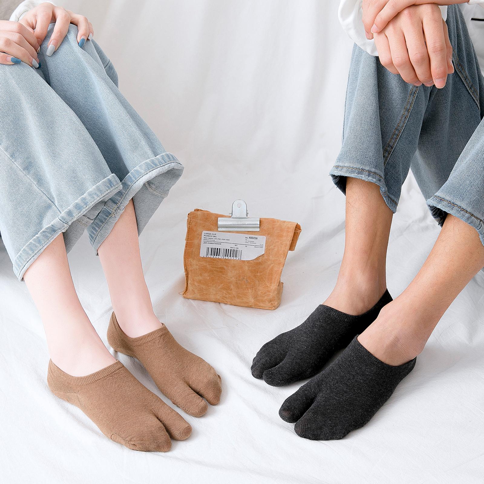 二指袜情侣袜子女短袜男纯棉浅口夏季薄款船袜韩国硅胶防滑分趾袜