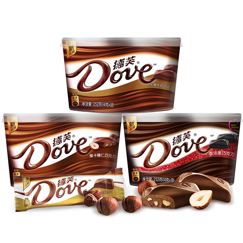 德芙礼盒装丝滑牛奶纯黑白夹心巧克力3碗排块送女友小零食喜糖果
