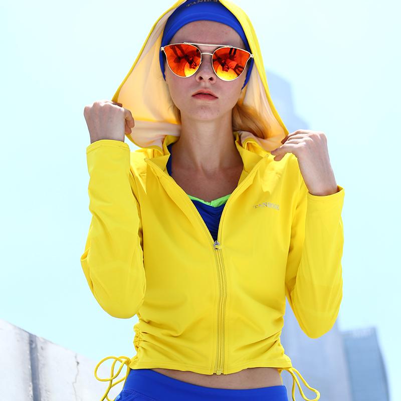 添波奇瑜伽服女上衣秋冬跑步长袖拉链健身房速干修身连帽运动外套