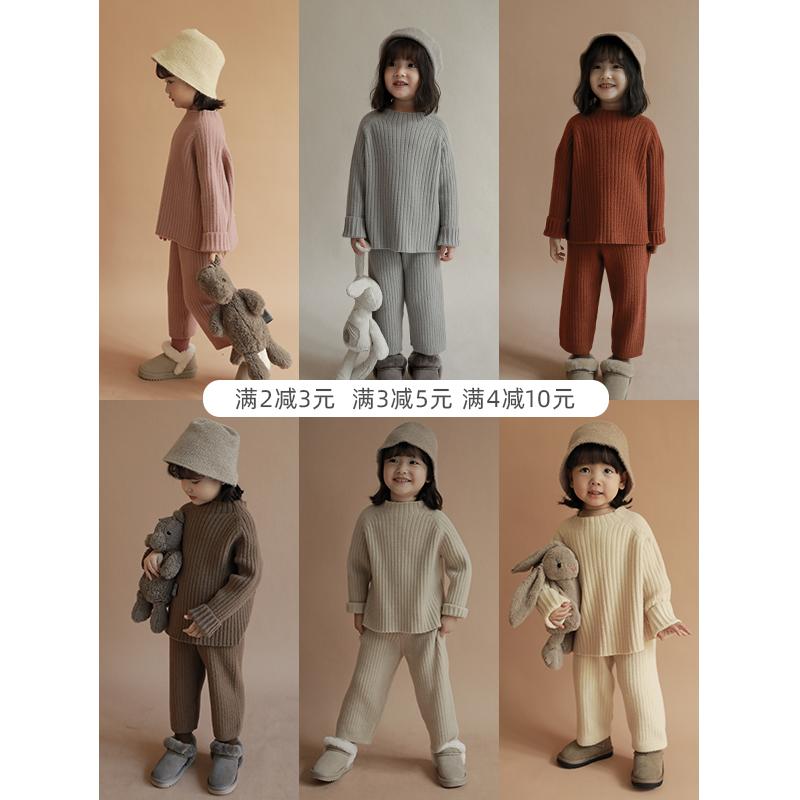 幼悠女童冬季套装宝宝保暖洋气套头毛衫毛衣儿童上衣毛线裤加厚