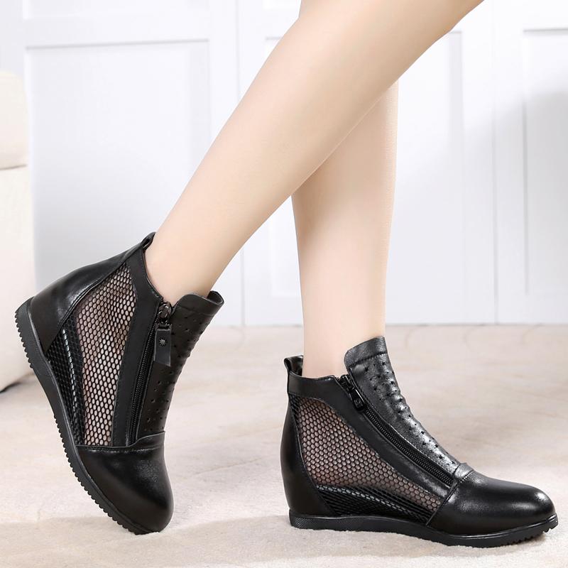 新款内增高镂空女靴春秋真皮网靴平跟短靴女洞洞单靴大码网纱女鞋