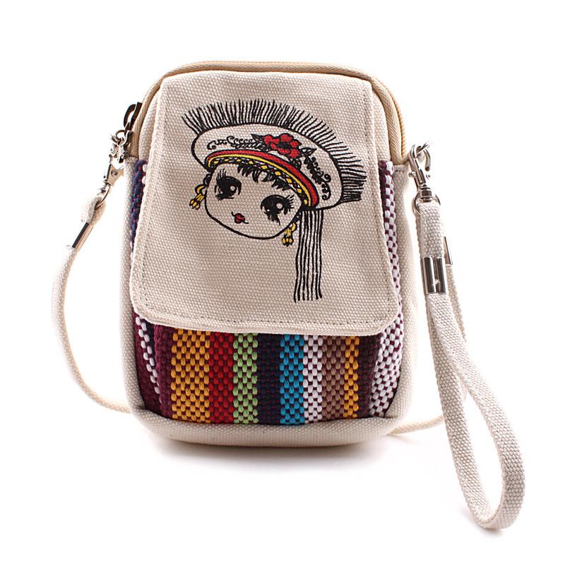 雲南民族風包包女生迷你小斜挎包帆布包復古手機包零錢包小方包潮