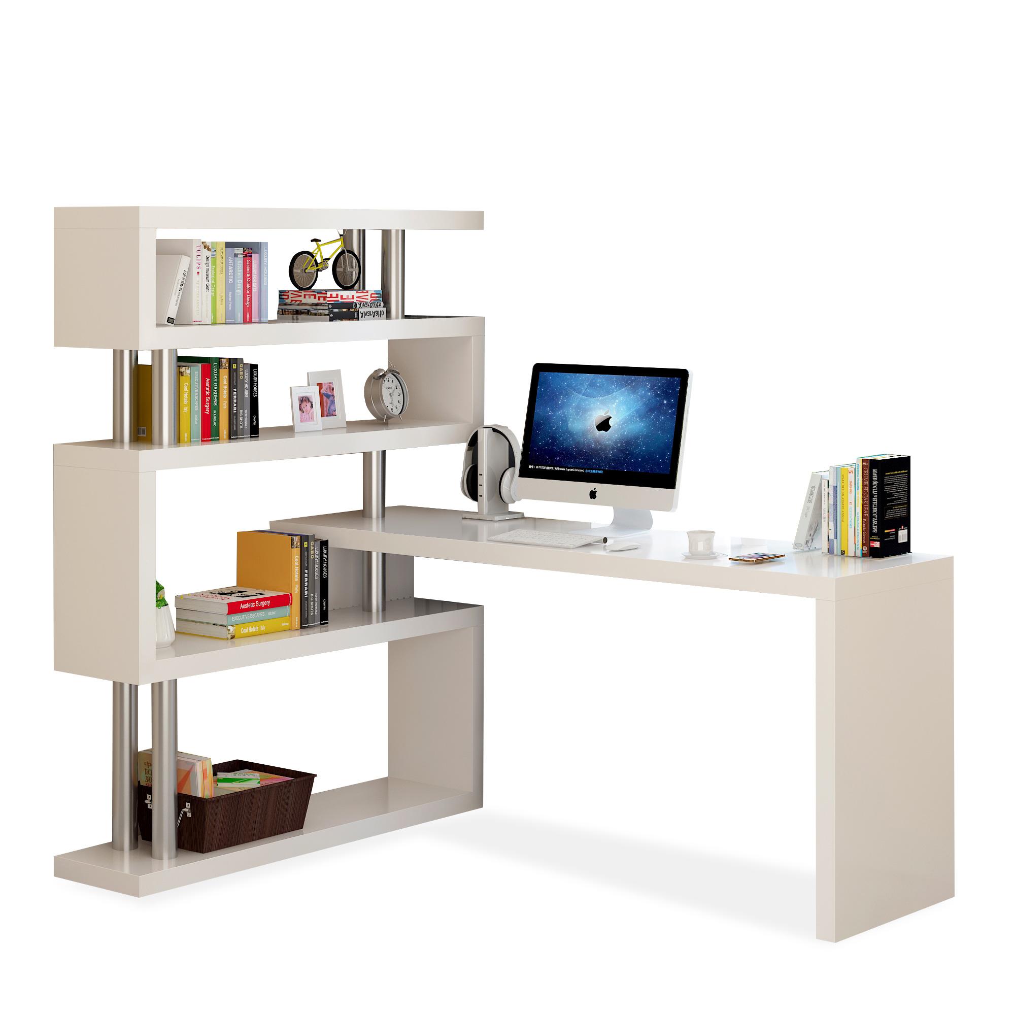 旋转电脑桌转角一体家用办公桌子写字台组合书架书柜简约简易书桌
