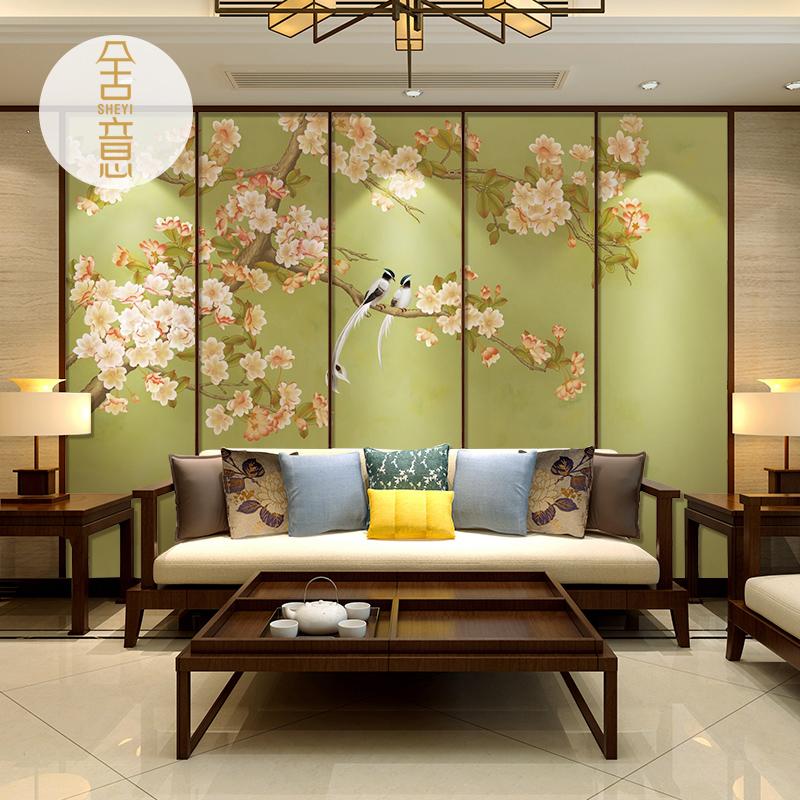 现代新中式壁纸客厅电视背景墙定制壁画卧室墙纸艺术花鸟无缝墙布