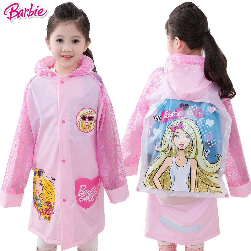 芭比女孩儿童雨衣带书包位雨衣小学生可爱公主充气帽檐雨披送文具