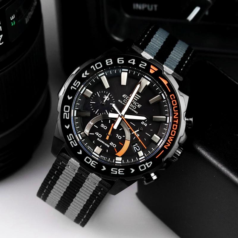 S550BL 日本卡西欧正品手表男账动计时防水光能表帆布表带 EFS 1A