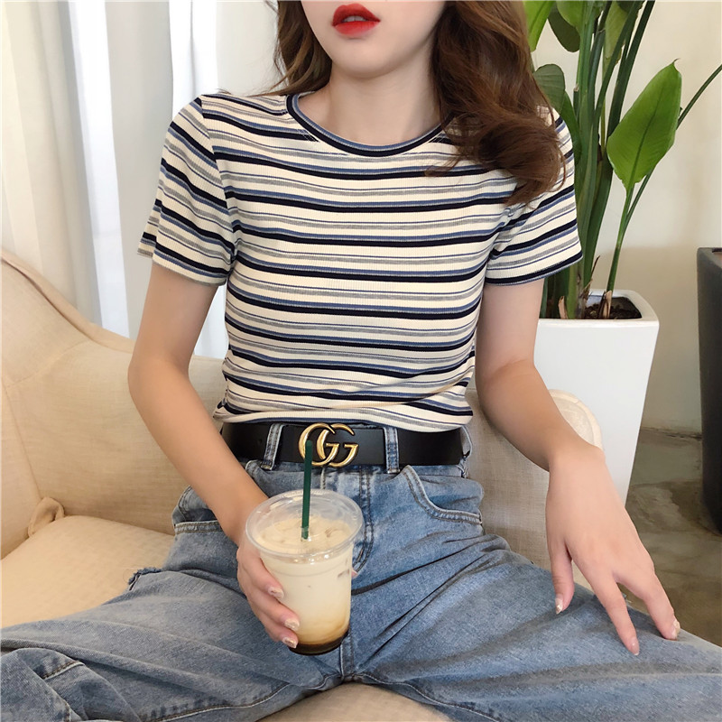条纹短袖t恤女薄款2021年新款夏季修身显瘦半袖体恤紧身短款上衣主图