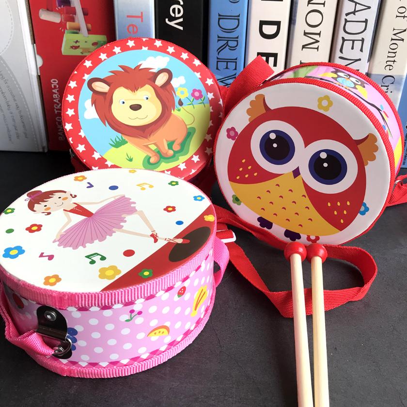 儿童双面鼓木质双面手敲鼓宝宝新生婴儿玩具打击乐器传统腰鼓军鼓