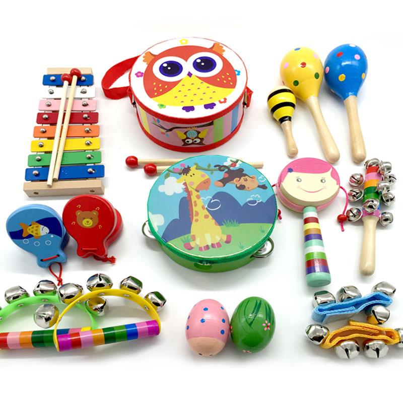 出口欧美日婴儿童乐器套装铃鼓摇铃沙蛋拨浪鼓沙锤6件套包邮