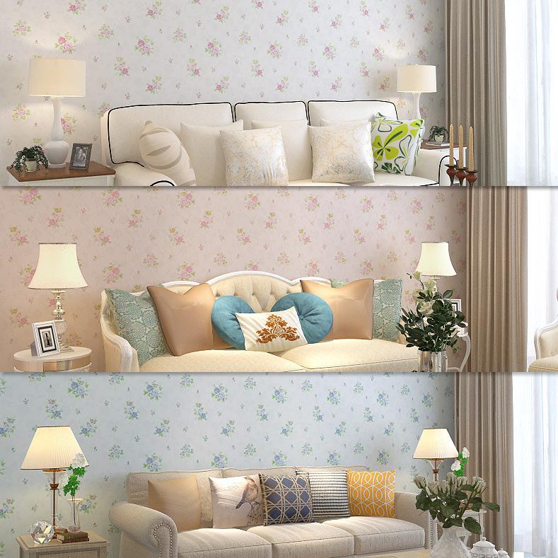 田园小花碎花壁纸韩式无纺布墙纸卧室背景墙客厅粉色蓝色小清新