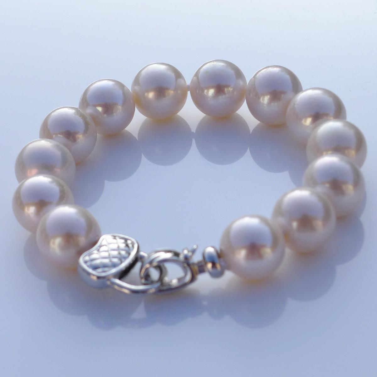 罕见特大12-13mm正圆强光天然珍珠手链手镯正品女925银扣