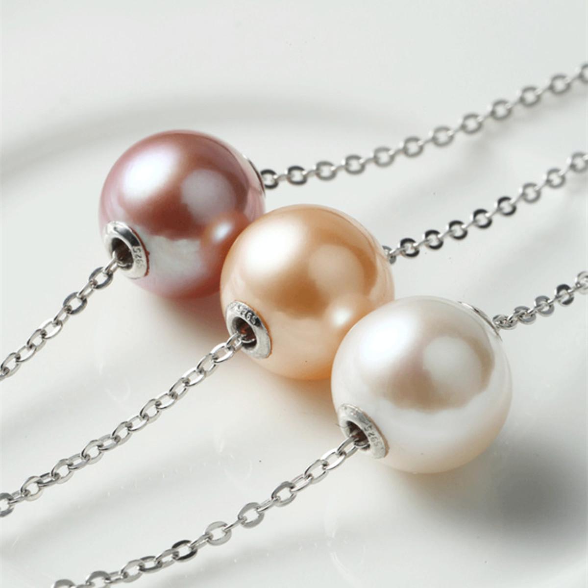 正圆极亮无瑕紫色路路通纯银珍珠项链单颗粉色天然珍珠吊坠锁骨链