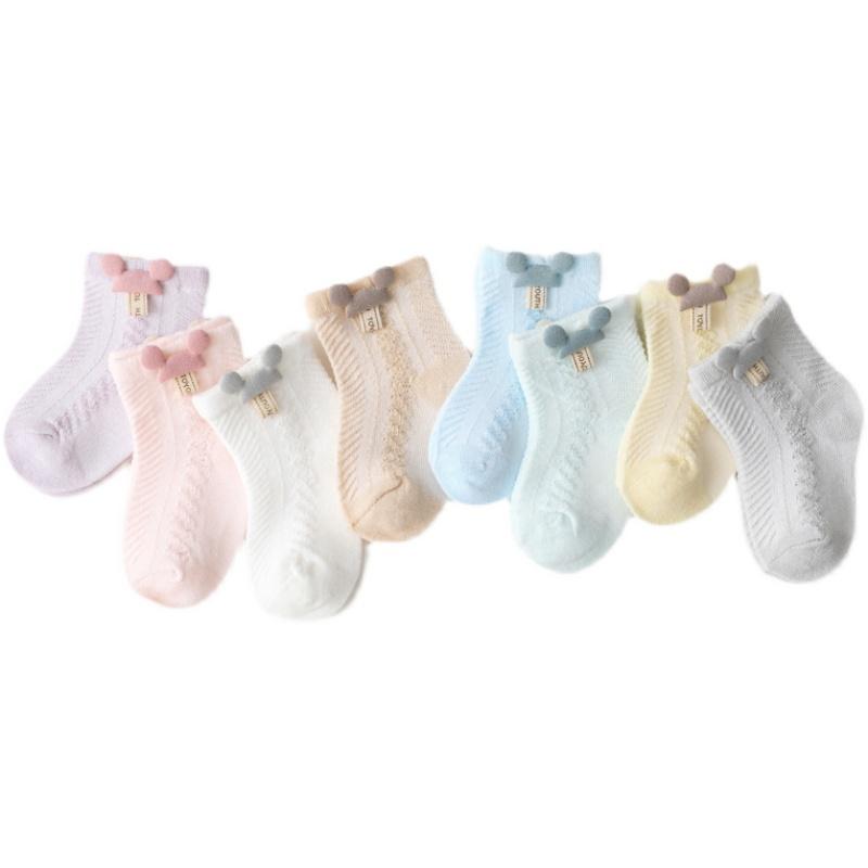 新生儿袜子夏季薄款纯棉中筒网眼透气可爱松口婴儿袜宝宝短袜春季