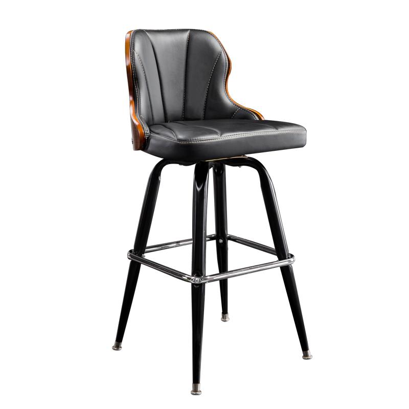 高档欧式铁艺吧台椅复古实木酒吧椅子升降靠背吧椅前台旋转高脚凳