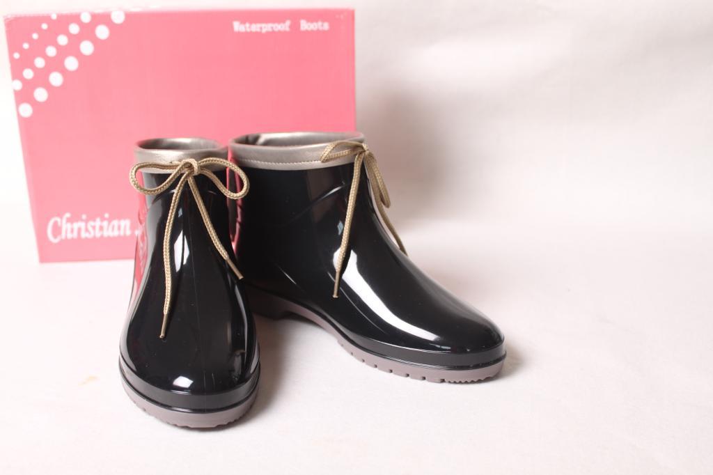 包邮时尚新款绑带装饰短筒雨鞋春秋低跟水鞋女鞋雨靴配鞋垫