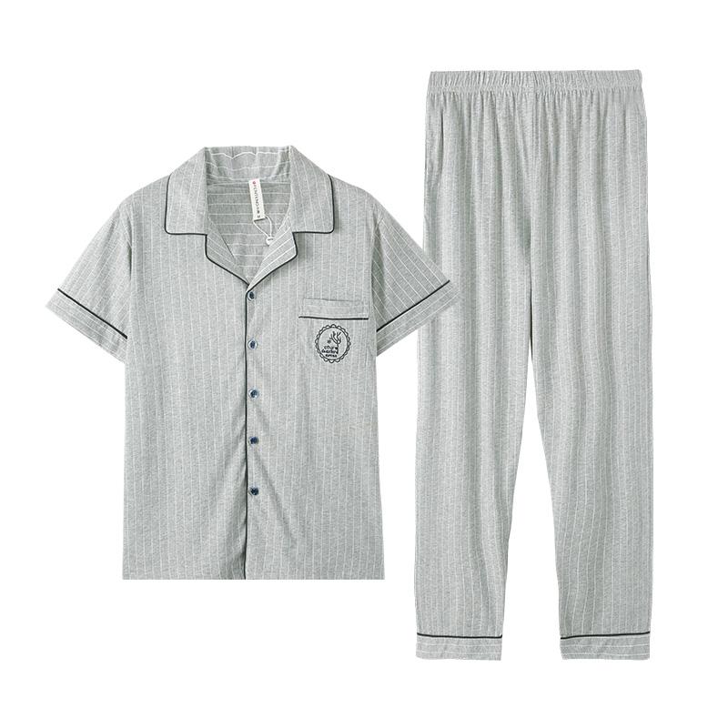 芬腾睡衣男士春夏纯棉短袖长裤两件套家居服全棉条纹宽松大码套装
