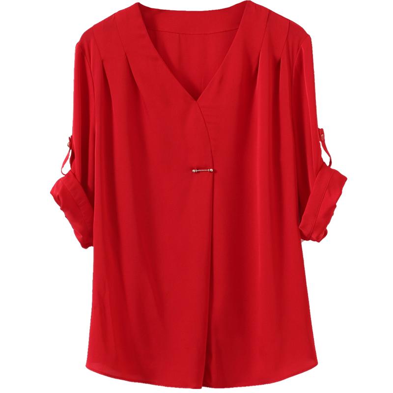 真丝上衣女2019新款春短袖桑蚕丝衬衫思宝琦宽松重磅丝绸T恤衬衣
