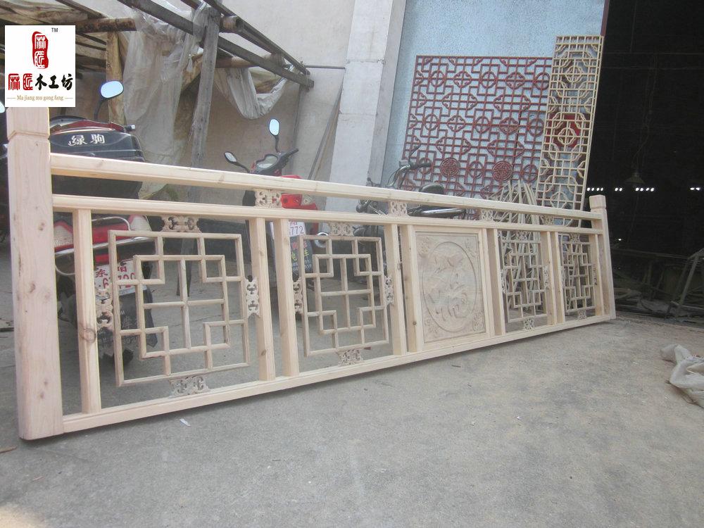 东阳仿古木雕中式装修 订做实木雕花楼梯扶手 护栏 栏杆 实木花格