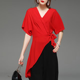 Fashion 2020 summer light mature irregular v-neck chiffon shirt female short-sleeved wild temperament was thin mid-length shirt