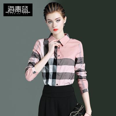 海青蓝职业秋冬上衣女士2019新款气质复古格子拼色法式衬衫21682 - 图3