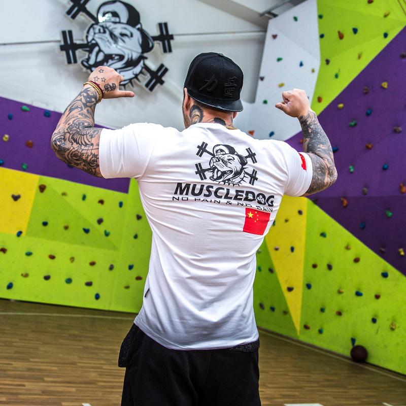 Muscledog肌肉狗短袖T恤潮牌国旗紧身跑步运动上衣训练健身衣服男