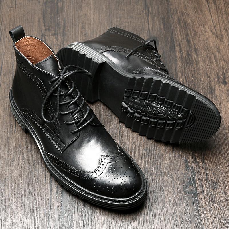 英伦布洛克马丁靴男高帮皮鞋百搭真皮靴子男士短靴中帮鞋男牛皮靴