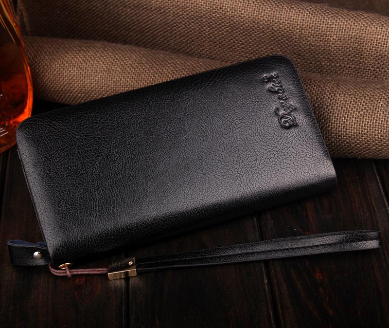 男士钱包软皮长款拉链钱包男商务手包大容量手拿包时尚手机包男