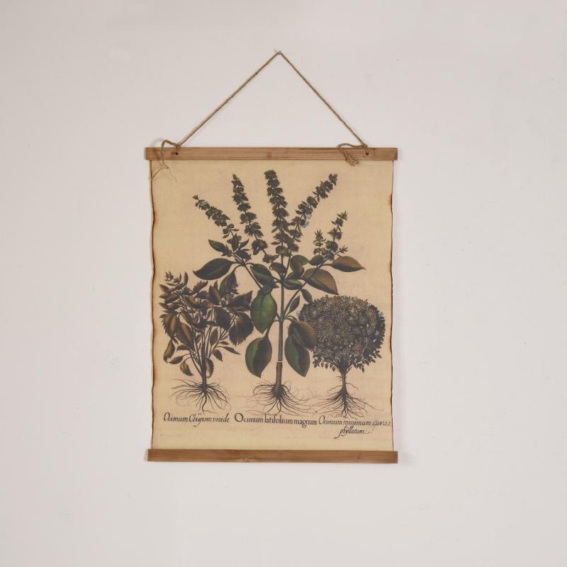 尚森复古棉麻植物棉布画服装店沙发墙面装饰画风景壁画卷轴画