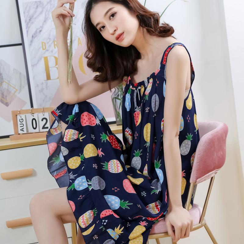 夏季韩版人造棉睡裙无袖性感纯棉绸吊带女睡裙清新大码学生家居服